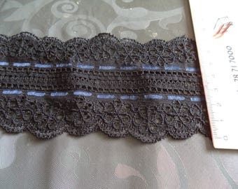 Black Lace with a blue border stretchy new width 7 cm