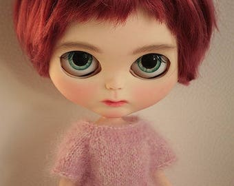 FREE Shipping - Blythe doll, OOAK Fake Blythe doll, OOAK Blythe doll, Sad little girl, Doll with dress,Doll with short hair