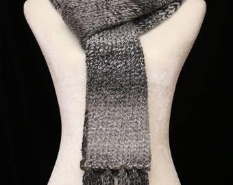 Handmade Knitted Scarf   Suduku  Black and White