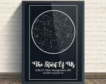 Night Sky Print, Star Map Poster, Custom Constellation Art, Star Chart Print, Sky Map Art, Wedding Anniversary Gift, Personalized Gift