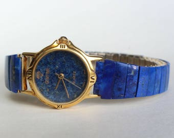 Natural Real Lapis Lazuli Stone Watch Real Stone Stretchy Band Gift for Her Gemstone Birthday