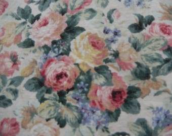 Old Country Cottage Roses 'Montrose' Printed Hardy Fabrics, Screen Printed Design, Pink, Blue, Yellow, Green Country Cottage Rose Pattern