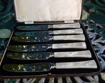 Set of Six Pearlcraft Faux Mother of Pearl Butter Knife Set, Stainless Steel, Tea Pary, Weddings, Original Box, Vintage Tableware