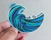 Ocean Wave Sticker - Blue Boho Summer Surfing Snorkeling Adventure Colorful - Car bumper water bottle laptop macbook decal - ride the wave