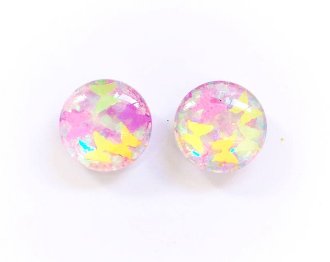 The 'Fairy Forest' Glitter Glass Earring Studs