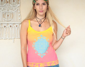 Vintage Indian Print Strappy Top