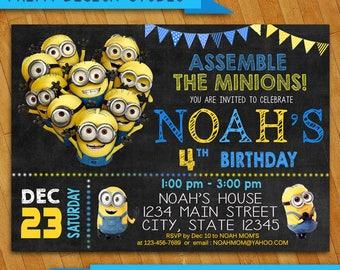 Minion Invitation Etsy - Minions birthday invitation images