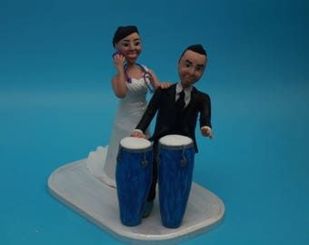 Unique Cake Toppers - Bride & Groom with Music Instruments Personalized Wedding Cake Topper, Couple. Wedding keepsake drum Drummer and nurse