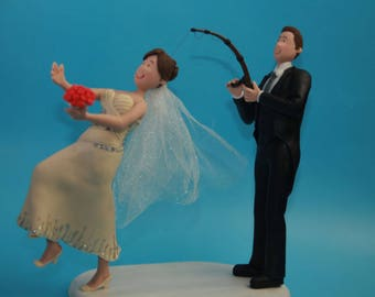 Funny and Unique Wedding Cake Topper - Bride fishing Groom! Fishing wedding cake topper, bride and groom fishing topper