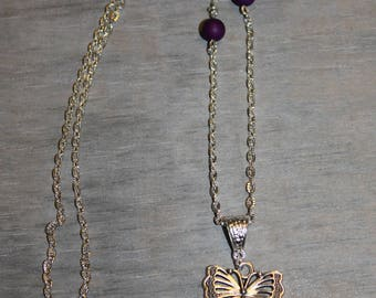 Butterfly Necklace old Czech purple quartz glass cabochon