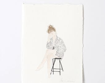 Polka Dot Lady / Figure Painting / Original Watercolor / Naked Lady Art / Nude Drawing