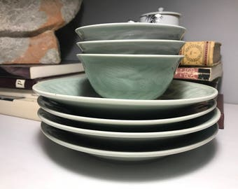 Vintage Chinese Longquan Celadon Plate/Bowl Set (7 pcs)