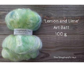 Mixed Wool Art Batt 'Lemon & Lime' 100 g  3.5 oz