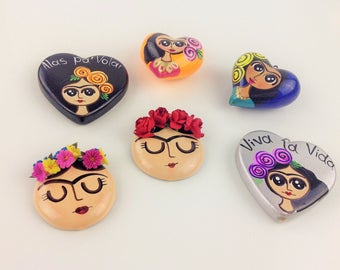 Frida Kahlo Large Pendant  Handmade Hand painted Mexican Frida Kahlo Necklace