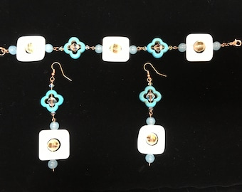 Tuquoise, Shell and Crystal Bracelet and Matching Earrings Set