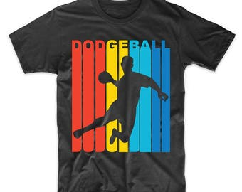 Retro 1970's Style Dodgeball Player Silhouette T-Shirt