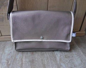 Glittery faux leather gray handbag
