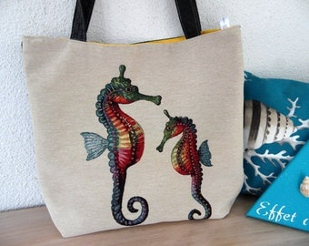 Handbag faux leather and cotton seahorse