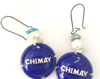 Blue recycled drink caps earrings