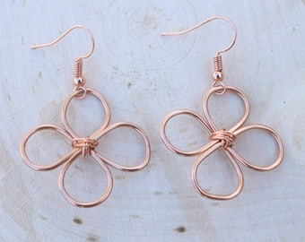 Delicate Celtic Irish Clover Lucky Wire Wrapped Copper Dangle Earrings - Four Leaf Clover
