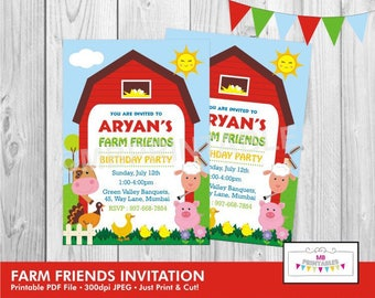 Farm Birthday Invitation,Birthday Invitation, Printable Birthday Party Invitation,Farm Party Invitation, Farm friends Birthday Invite