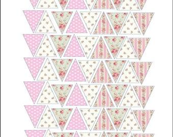 Edible Printed Cake Topper - Bunting Sheet Pinks
