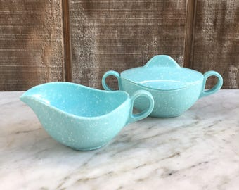 Melmac Robins Egg Blue Speckled Cream and Sugar Set / 1960's