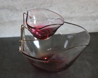Exquisite Vintage Indiana Glass Ruby Iridescent Chip and Dip Set