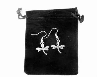 Silver metal Dragonfly earrings