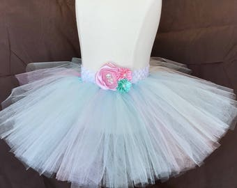 Blue, Green, Pink Flower Tutu/ Birthday Outfit/Infant Tutu/Newborn Tutu/Flower Child/Photography Props/