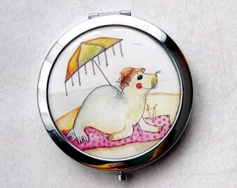 Cute Seal - Mirror - Pocket Mirror - Round Mirror - Compact Mirror - Hand Mirror - Metal Mirror - Magnifying Mirror - Cute Mirror -