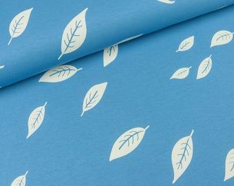 Cotton Jersey/interlock Kenny leaves on blue