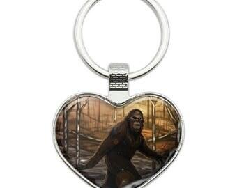 Bigfoot sasquatch walking in the woods heart love metal keychain key chain ring