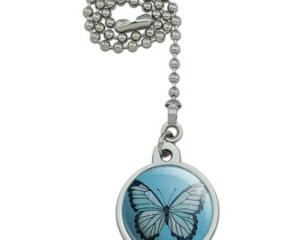 Butterfly artsy blue ceiling fan and light pull chain