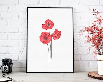 Floral wall art, red flowers print, bedroom decor, minimalist poster, poppies wall decor, botanical print, red home decor, abstract painting