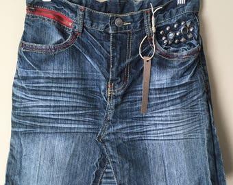 Upcycled Denim - Jean Skirt - Size 1