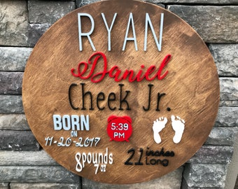 Custom Birth Sign- 3D Birth Sign- Baby Footprints - Birth Stats Sign - Custom Nursery Decor - Baby Gift-Wooden Letters- Wooden Footprints