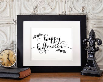 Happy Halloween Art, 8 x 10 or 11 x 14, Halloween Art Print, Halloween Decor, Home Decor Print, Printed & Shipped