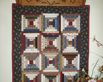 Miniature/Wall Quilt, Courthouse Steps, Scrappy, Handmade by Darlene Zimmerman