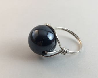 20 Gauge Sterling Silver, Wire Wrapped, 16mm Hematite bead.