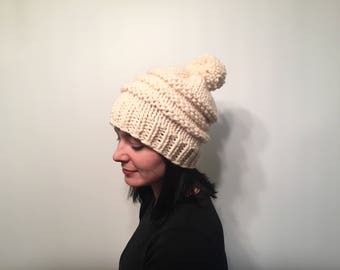Textured Striped Knit Beanie // Pom Pom Beanie // Knit Winter Hat // Solid Color Hat // Slouchy Knit Winter Women's Hat