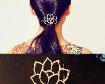 Gold Lotus Flower Hair Clip, Flower Hair Clip, Wedding Hair Clip, Yoga Inspired, Gold Hair Clip, Bridal Accessories, Karma Accessories