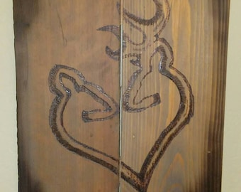 Browning logo wall plaque on reclaimed wood