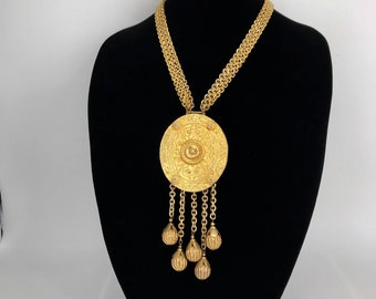 Etruscan Revival Gilt Metal Necklace Alexis Kirk Attributed