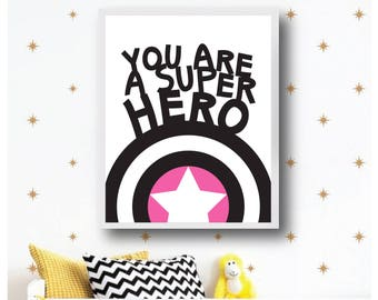 Superhero Nursery Room Print, Black White Print, Typography Printable, Typo Noir Blanc, Digital Download, Affiche Superhero, Chambre Enfant