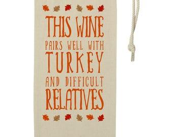 Thanksgiving Hostess Gift Wine Bag - Funny Wine Gift Bag