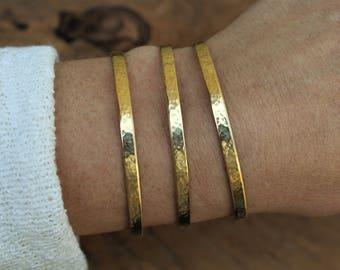 Stackable bracelets, gold bracelet, hammered cuff bracelet, brass cuff bracelet, everyday jewelry