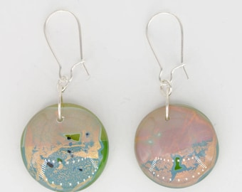 Drop Earrings-Sterling Silver Hooks, Green, Pink, Gold