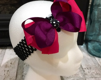 Double layer bow paired with headband