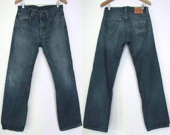 90s Levis 501/ 31 / Medium / 6-8/ Button Fly,  Short / Distressed Straight Leg Jeans 31 x 29